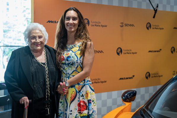Dona Lia Maria Aguiar e Bianca Senna, CEO da Senna Brands na apresentação da McLaren Senna GTR XP.